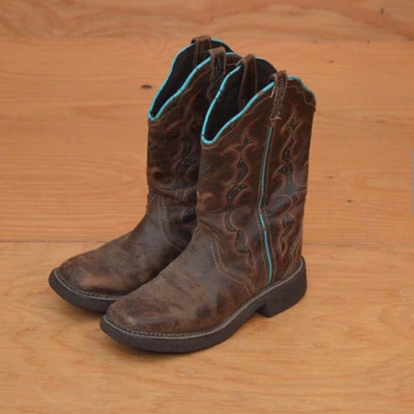 Justin Schuhes     Cowgirl Stiefel Braun Turquoise 85   Poshmark c9bc39